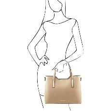 Sac Cabas Cuir 2 Compartiments Beige - Tuscany Leather -
