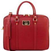 Sacoche Porte Ordinateur Cuir Femme Rouge -  Tuscany Leather -