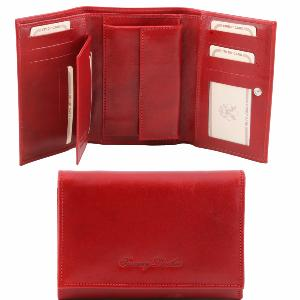 Portefeuille Cuir Femme à Compartiments Rouge -Tuscany Leather-