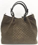 SOLDES Sac Fourre-Tout Cuir Tressé Femme Taupe  -First Lady Firenze
