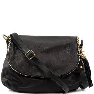 Sac Bandoulière Cuir Besace Noir Femme -Tuscany Leather-