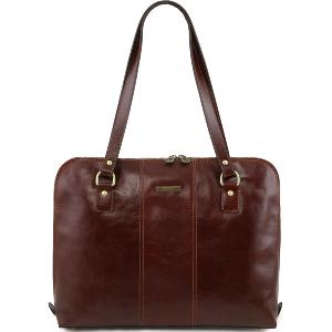 Sac Bandoulière Ordinateur Cuir Femme Marron -Tuscany Leather-