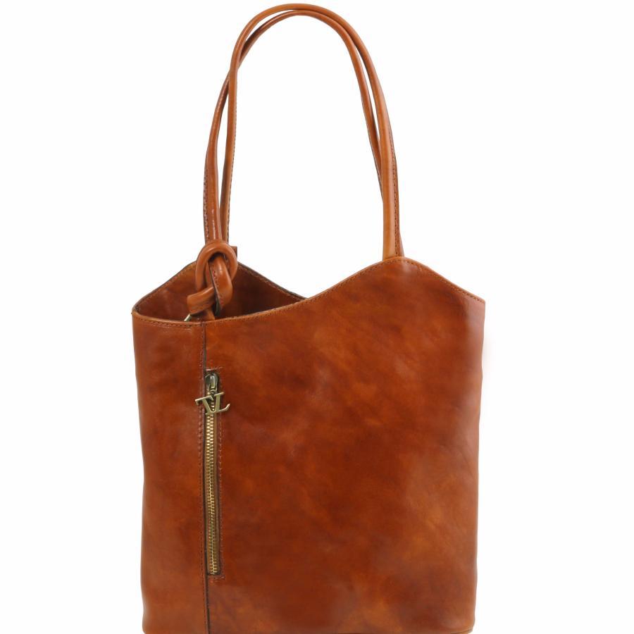 sac cuir convertible en sac dos femme camel tuscany leather. Black Bedroom Furniture Sets. Home Design Ideas