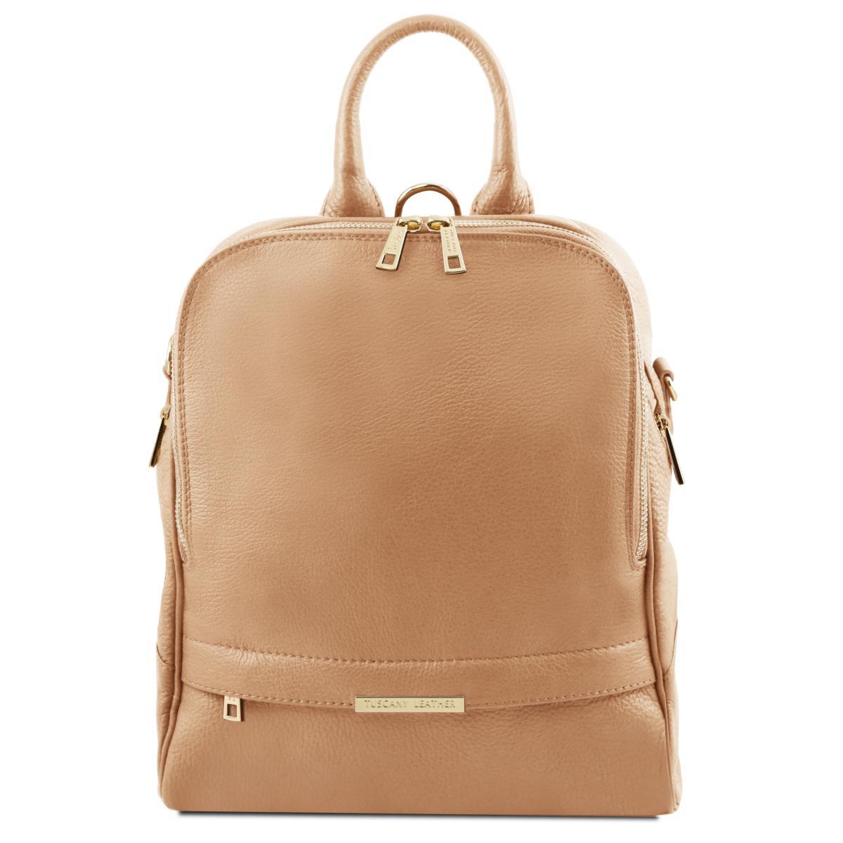 commercialisable le dernier diversifié dans l'emballage Sac à Dos Cuir Transformable Femme Beige - Tuscany Leather -