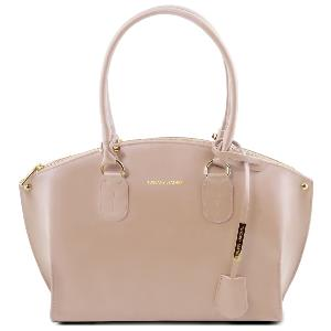 Grand Sac Cabas Cuir Femme Taupe   - Tuscany Leather -
