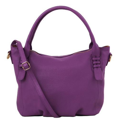 Sac à Main Cuir Femme Violet - Tuscany Leather -