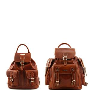 Travel Set Leather Backpacks Trekker Honey - Tuscany Leather -