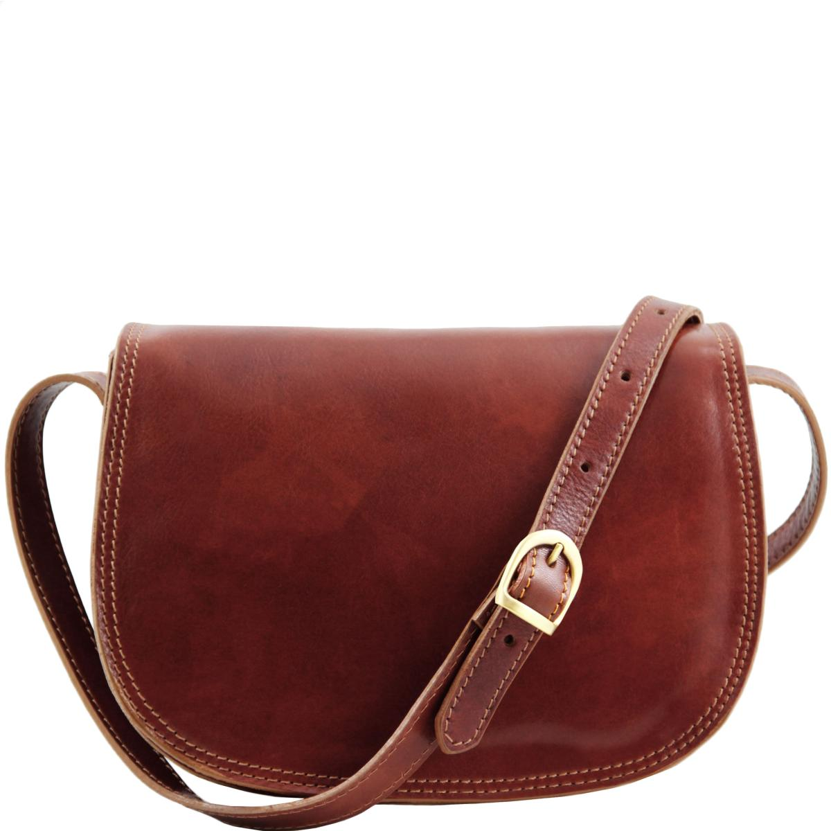 Sac Bandoulière Cuir Femme Marron -Tuscany Leather-