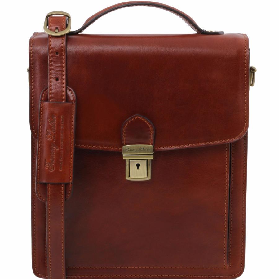 mode designer 0ac5c 6a47a Sac Bandoulière Cuir Homme Marron - Tuscany Leather -
