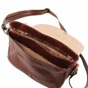 Sac Besace Casual Chic Cuir Femme Marron - Tuscany Leather -