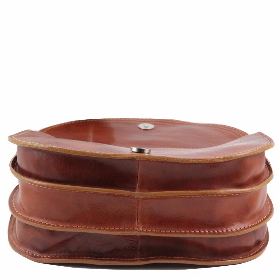 Sac Bandoulière Cuir Femme Marron Foncé Tuscany Leather