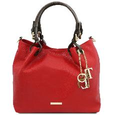 Sac Fourre Tout Cuir Souple Femme Rouge - Tuscany Leather -