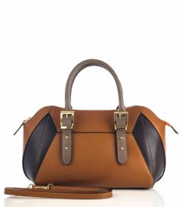 Sac Cuir Bicolore Marron Bowling Femme - First Lady Firenze -