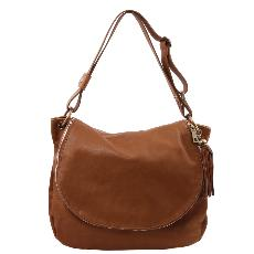 Grand Sac Cuir Bandoulière Besace Femme Marron -Tuscany Leather-