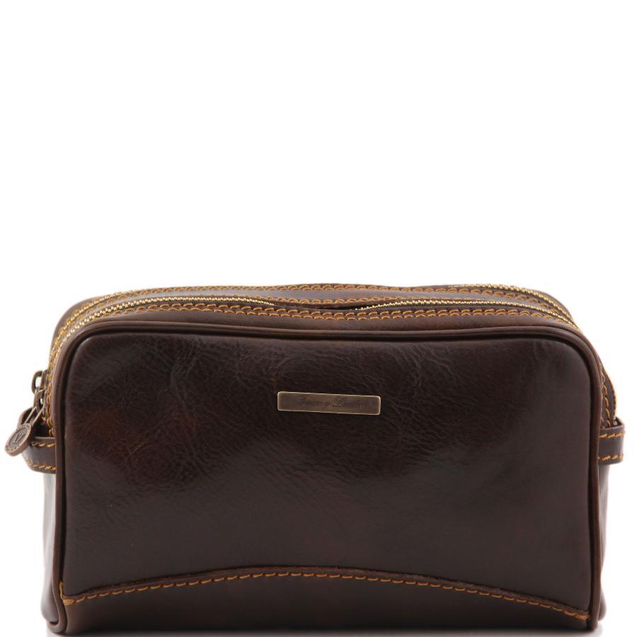 trousse de toilette en cuir 224 2 compartiments s 233 par 233 s tuscany leather