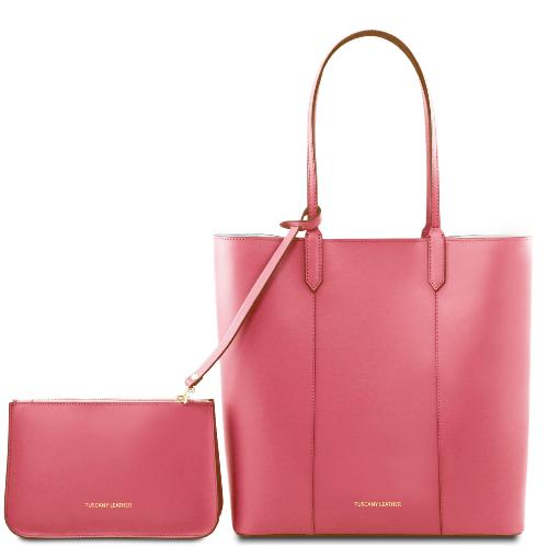 Sac Fourre Tout Cuir Femme Rose - Tuscany Leather -
