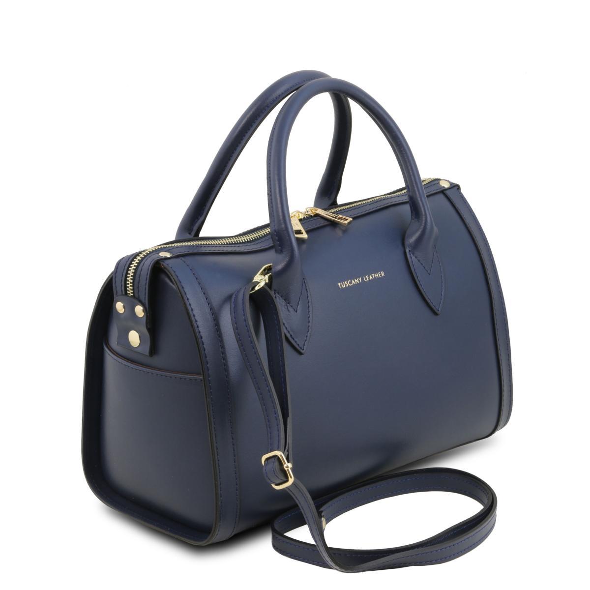 design intemporel c5c14 050e3 Sac Cuir Bowling Femme Bleu Marine - Tuscany Leather -