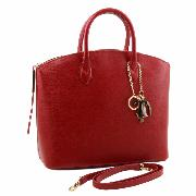 Sac Cabas Cuir Mode Femme Rouge - Tuscany Leather -