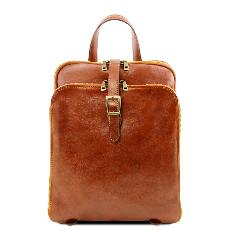 Sac a Dos Cuir 3 Compartiments Miel -Tuscany Leather-
