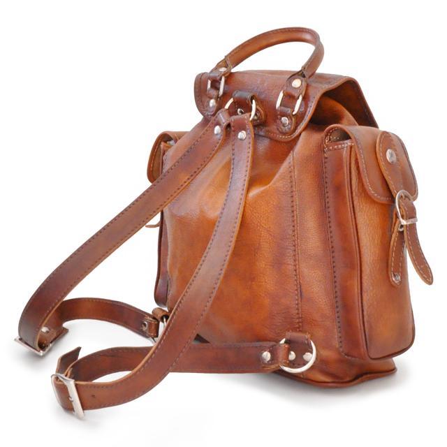 grand sac dos cuir vintage montalbano pratesi. Black Bedroom Furniture Sets. Home Design Ideas