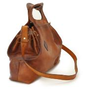 Grand Sac Cuir Naturel Souple Vintage Marron Femme -Pratesi-