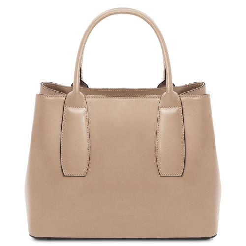 Sac Fourre Tout Cuir Femme Beige - Tuscany Leather -