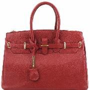 Solde Sac Cuir Femme avec Sangle Rouge  - Tuscany Leather -