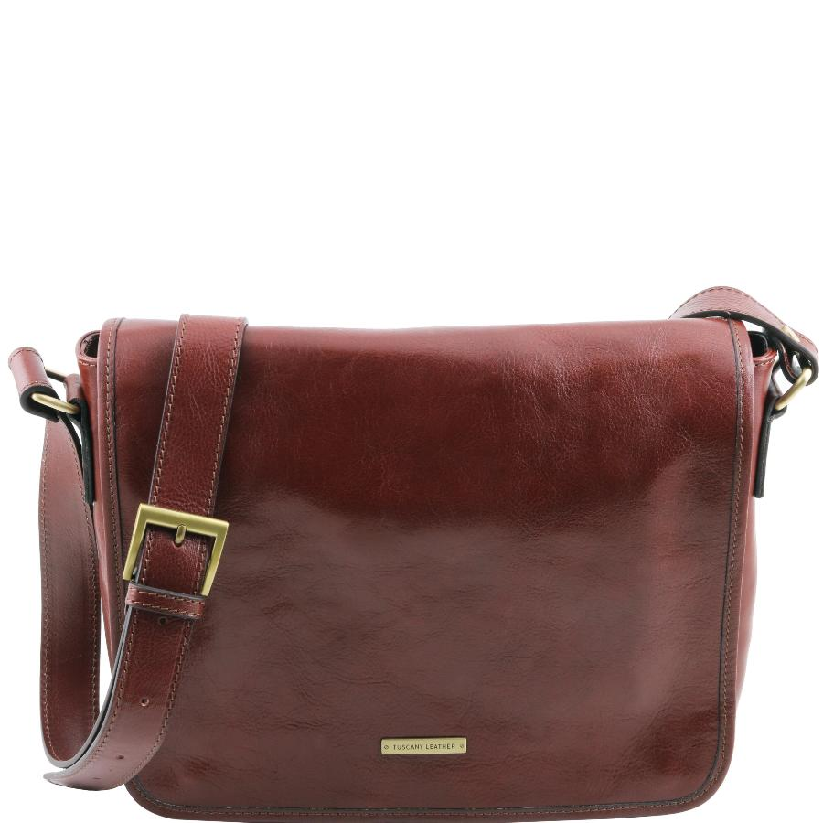 Cuir Sac Marron Leather Bandoulière Tuscany Besace Homme DYWE2e9IH