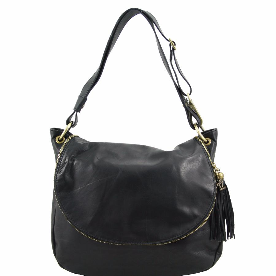 db9ece400a3a7 Sac Cuir Besace Femme Noir - Tuscany Leather -. Nouveau