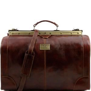 Grand Sac de Voyage Diligence Cuir Vintage Marron   -Tuscany Leather-