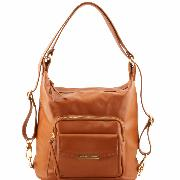 Sac Femme Cuir Transformable Sac à Dos Marron  -Tuscany Leather -