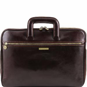 Sacoche Cuir 2 Compartiments Marron Foncé - Tuscany Leather -