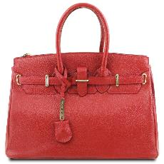 Sac Cuir Rouge Femme avec Sangle   - Tuscany Leather -