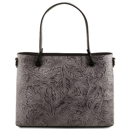 Solde Sac Cuir Motifs Femme Gris - Tuscany Leather -