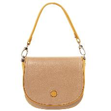 Sac Besace Bandoulière Cuir Femme Beige - Tuscany Leather -