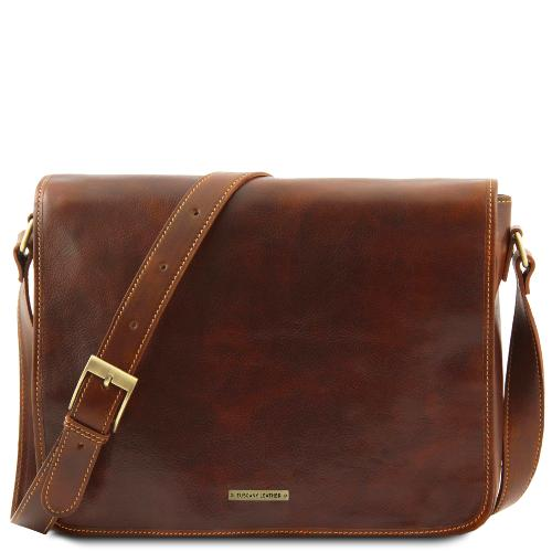 Leather Cuir Sac Tuscany Besace Homme Marron thCQrds
