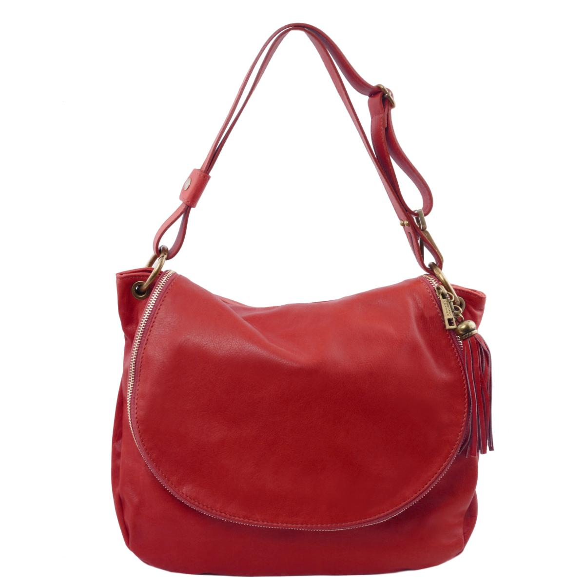 Grand Sac Cuir Besace Femme Rouge -Tuscany Leather-