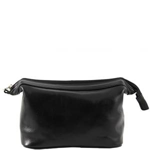 Grande Trousse de Toilette Cuir Noir -Tuscany Leather-
