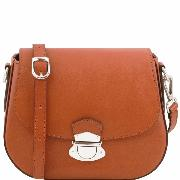 Sac Bandoulière Besace Cuir Femme Camel  -Tuscany Leather -