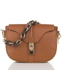 Sac Cuir Bandoulière Chaine Femme Marron - First Lady Firenze -