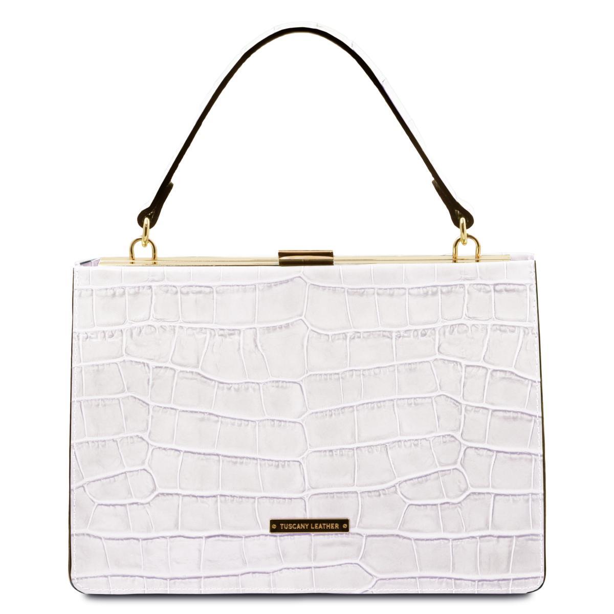 Tuscany Leather Aura Sac /à Main en Cuir Blanc