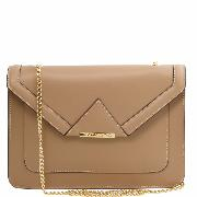 Promo Sac Bandoulière Pochette Beige Cuir Chainette Femme -Tuscany Leather-