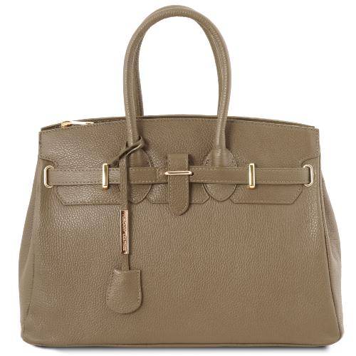 Sac Cuir Femme avec Sangle Taupe - Tuscany Leather -