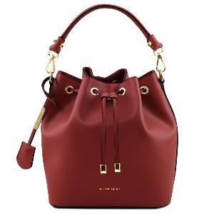 Sac Seau Cuir Femme Rouge -Tuscany Leather -