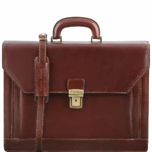 Cartable Cuir Marron à Compartiments -Tuscany Leather -