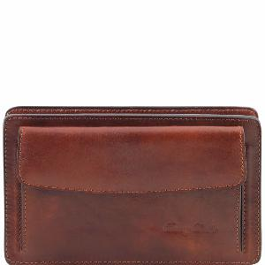 Pochette Cuir Marron Homme Bandoulière Amovible -Tuscany Leather-