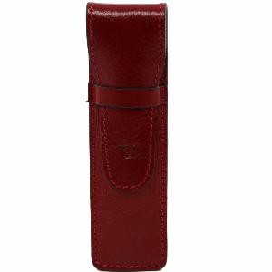 Etui en Cuir Rouge pour Stylo -Tuscany Leather-