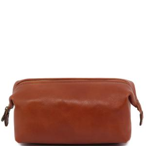Trousse de Toilette Cuir Miel -Tuscany Leather-