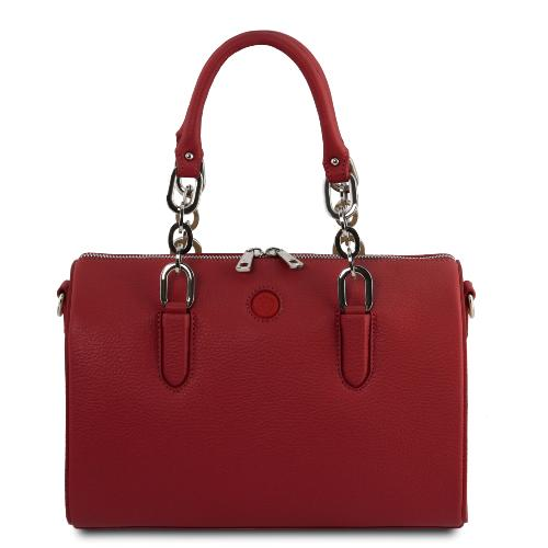Sac Bowling Cuir et Chaine Femme Rouge - Tuscany Leather -