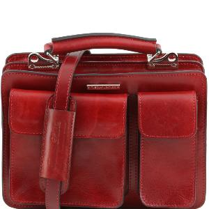Sac Style Cartable Cuir Femme Rouge - Tuscany Leather -